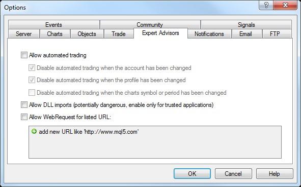 MetaTrader Expert Advisor Options